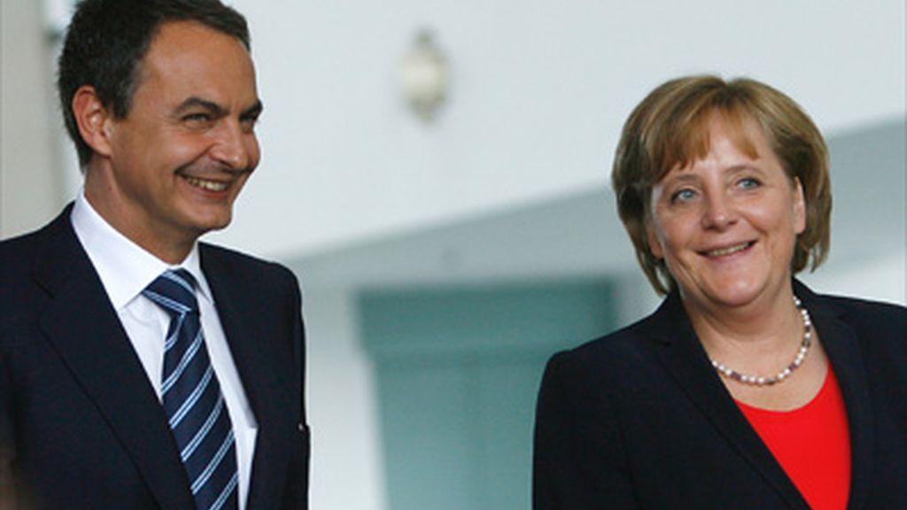 Zapatero y Angela Merkel