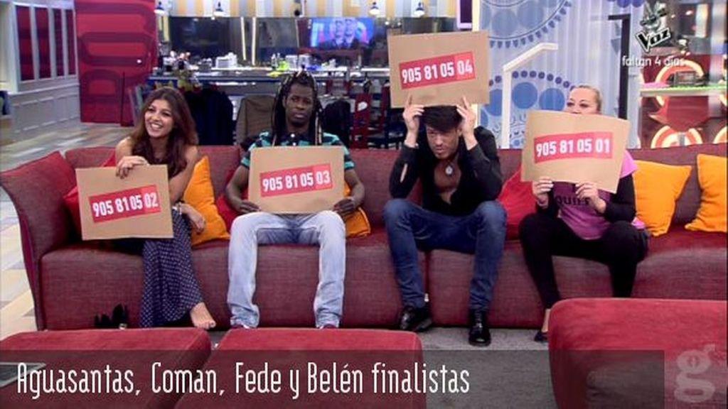Aguasantas, Coman, Fede y Belén finalistas