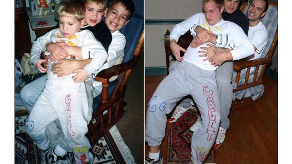 Tres hermanos recrean las fotos de su infancia para su madre