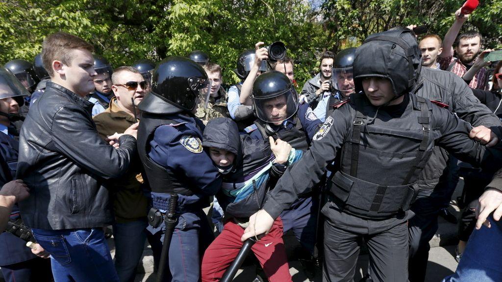 Tensión en Ucrania durante la marcha de los trabajadores