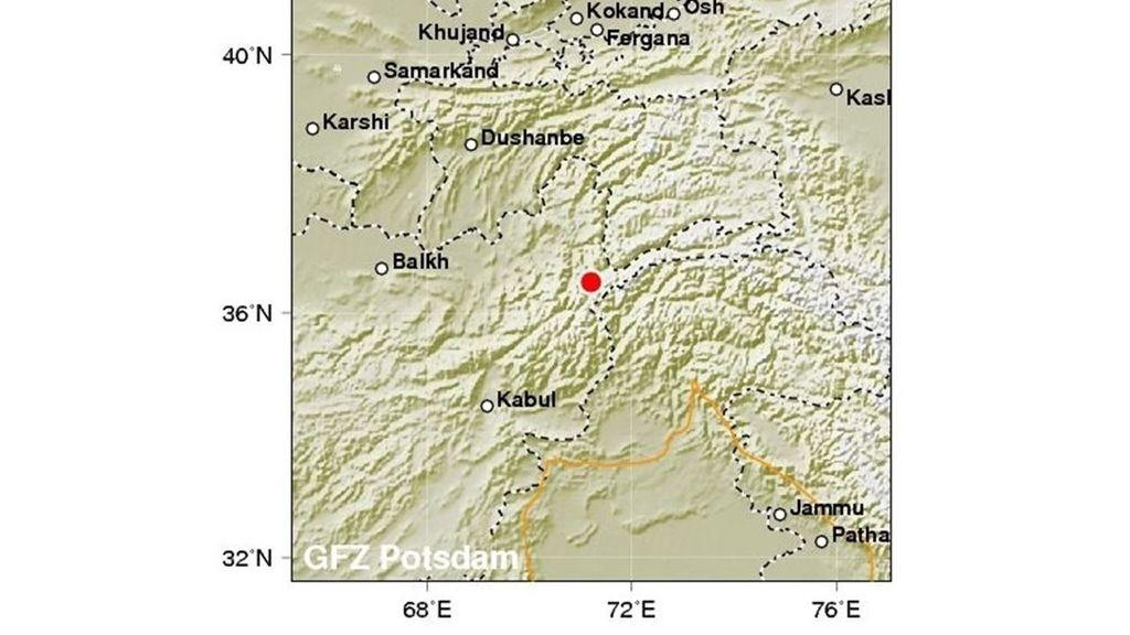 Mapa del terremoto en Afganistán e India