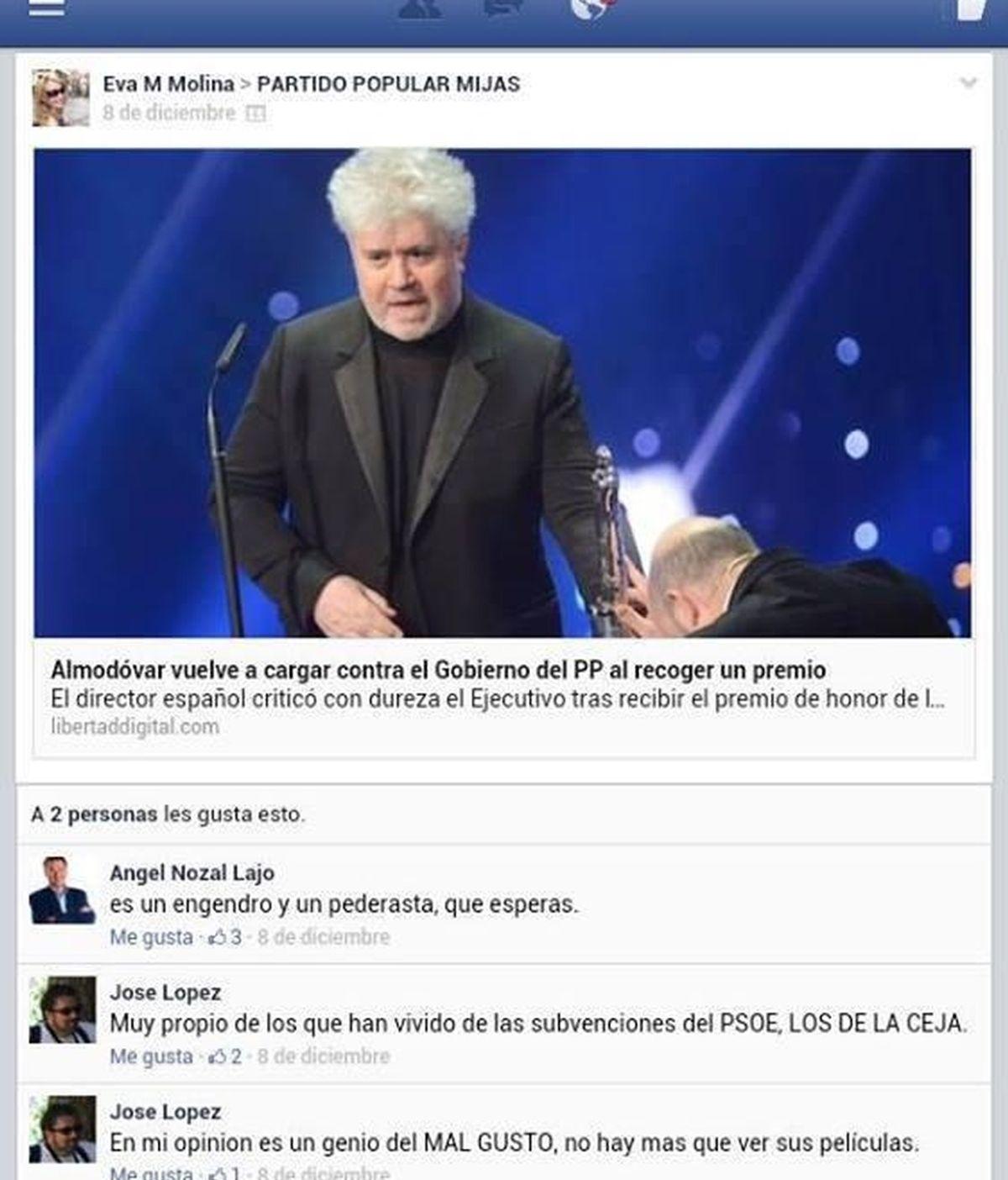 """El alcalde popular de Mijas llama """"pederasta"""" a Almodóvar por criticar al Gobierno"""