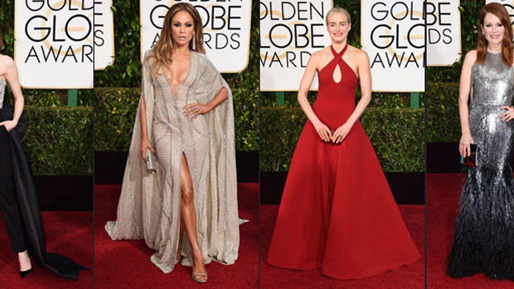 Las actrices arriesgan poco en la alfombra roja de los Globos de Oro
