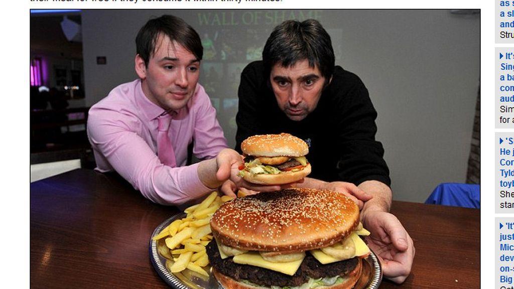 La hamburguesa más grande del Reino Unido. Foto: Dailymail