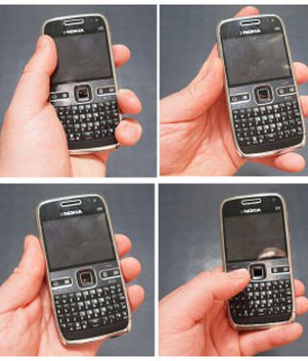 La guía de Nokia para usar demostrar que los usuarios zurdos no tienen problemas de recepción de cualquier manera que cojan el móvil.