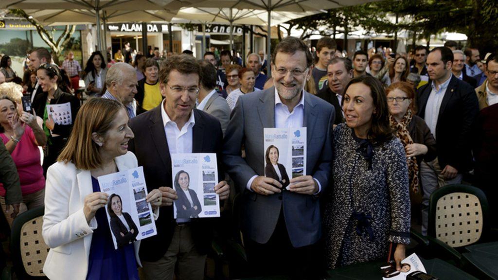 Mariano Rajoy, de campaña en Marín (Pontevedra)