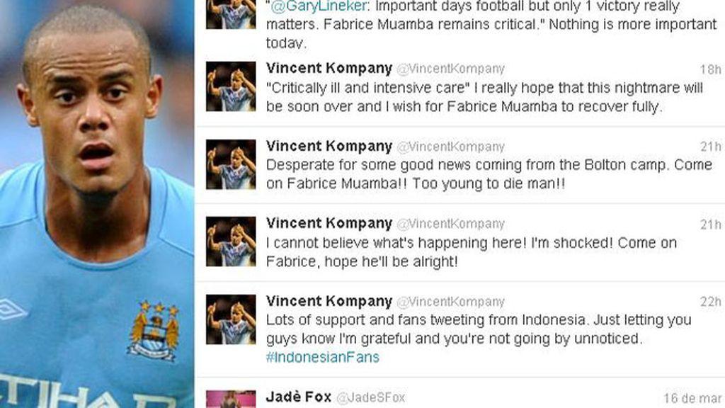 Apoyo a Muamba en Twitter