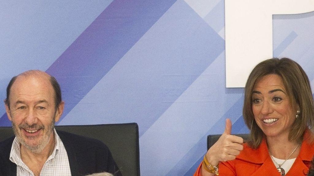 Alfredo Pérez Rubalcaba y Carme Chacón en el Comité Federal del PSOE
