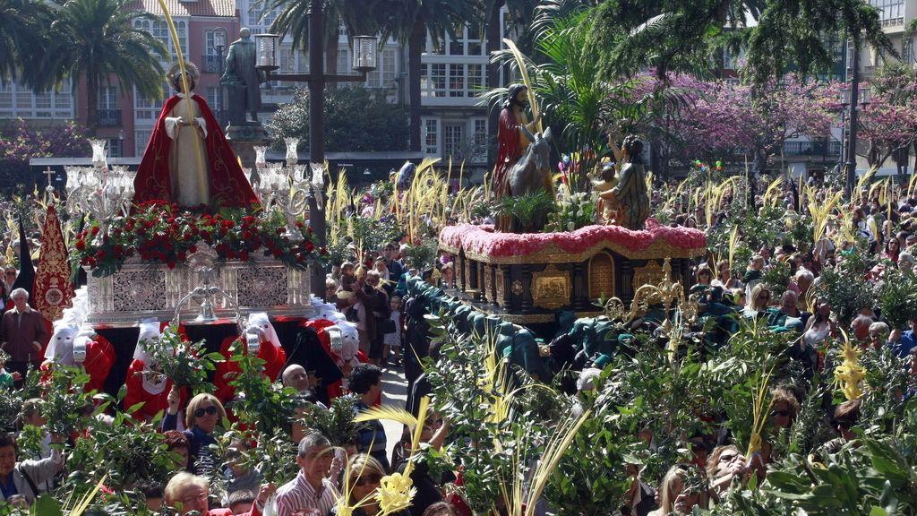 Procesión de la entrada triunfal de Jesús en Jerusalén , en Ferrol