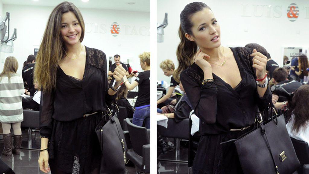 El antes y el después de la sesión de maquillaje y peluquería