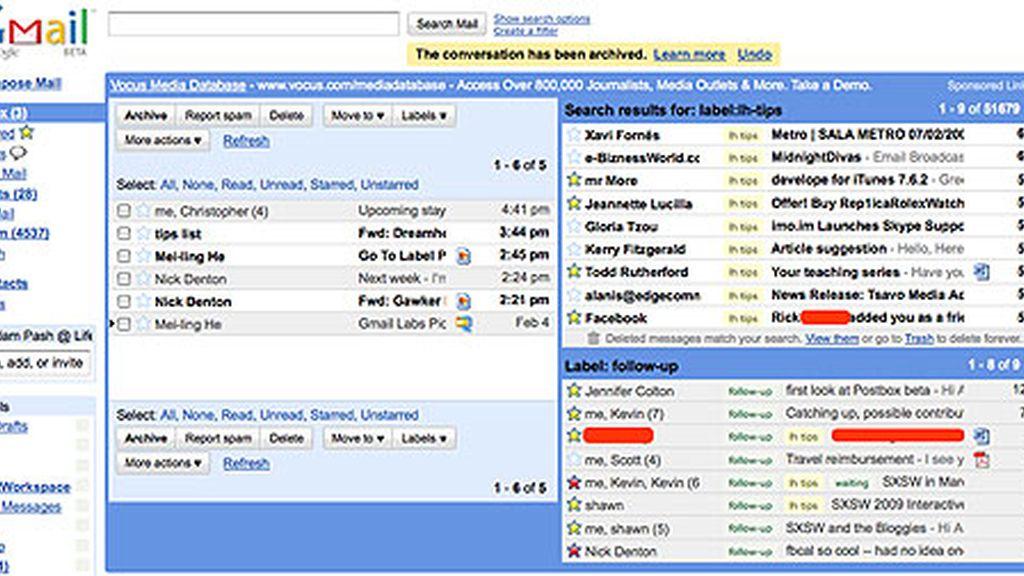 Aspecto de la nueva bandeja de entrada de Gmail, con la función Labs activada.