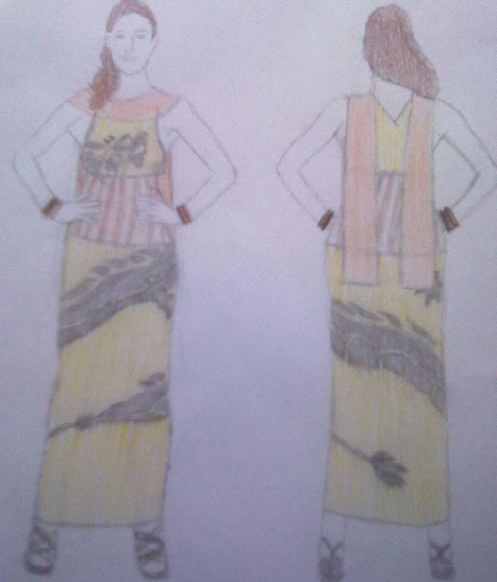 Vestido amarillo con dragón