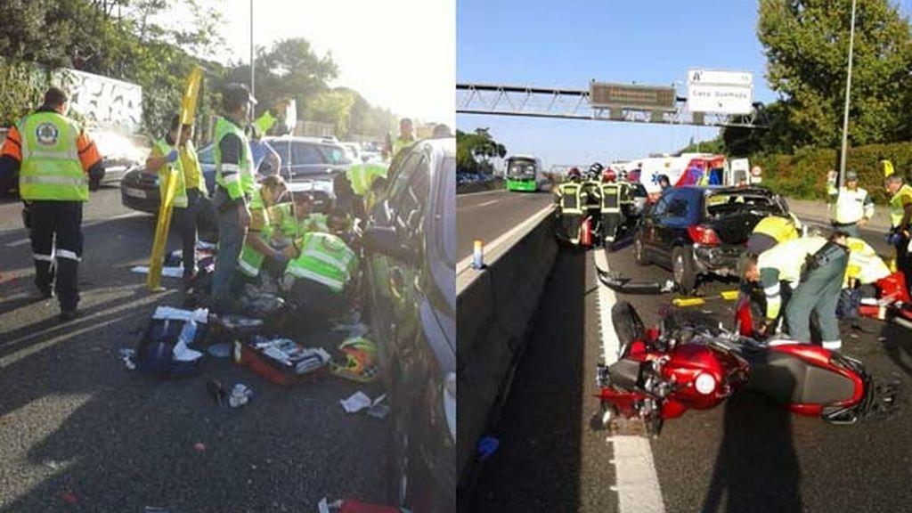 Colisión entre una moto y un coche en Madrid