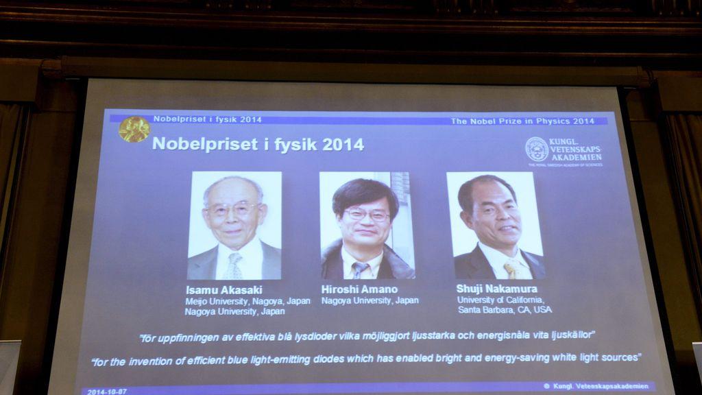 Isamu Akasaki, Hiroshi Amano y Shuji Nakamura, premio Nobel de Física