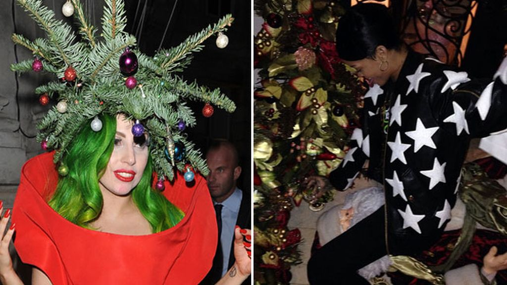 Lady Gaga prefiere vestirse ella de árbol y Rihanna 'seduce' a Santa Claus