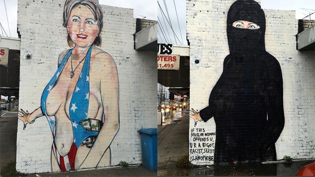Hillary Clinton: con burka y semidesnuda