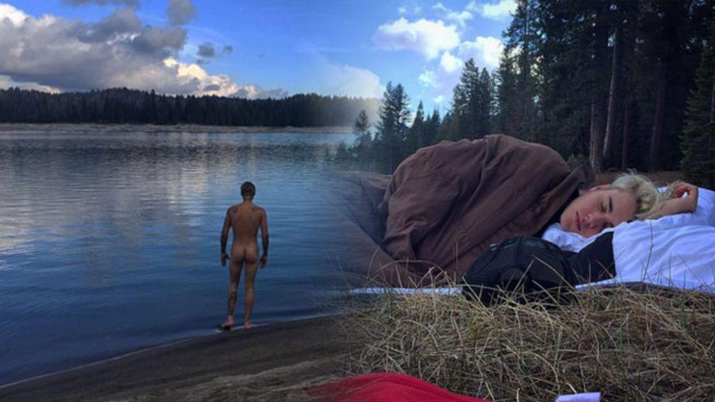 El baño al desnudo y vivac de Bieber en Shaver Lake (California)