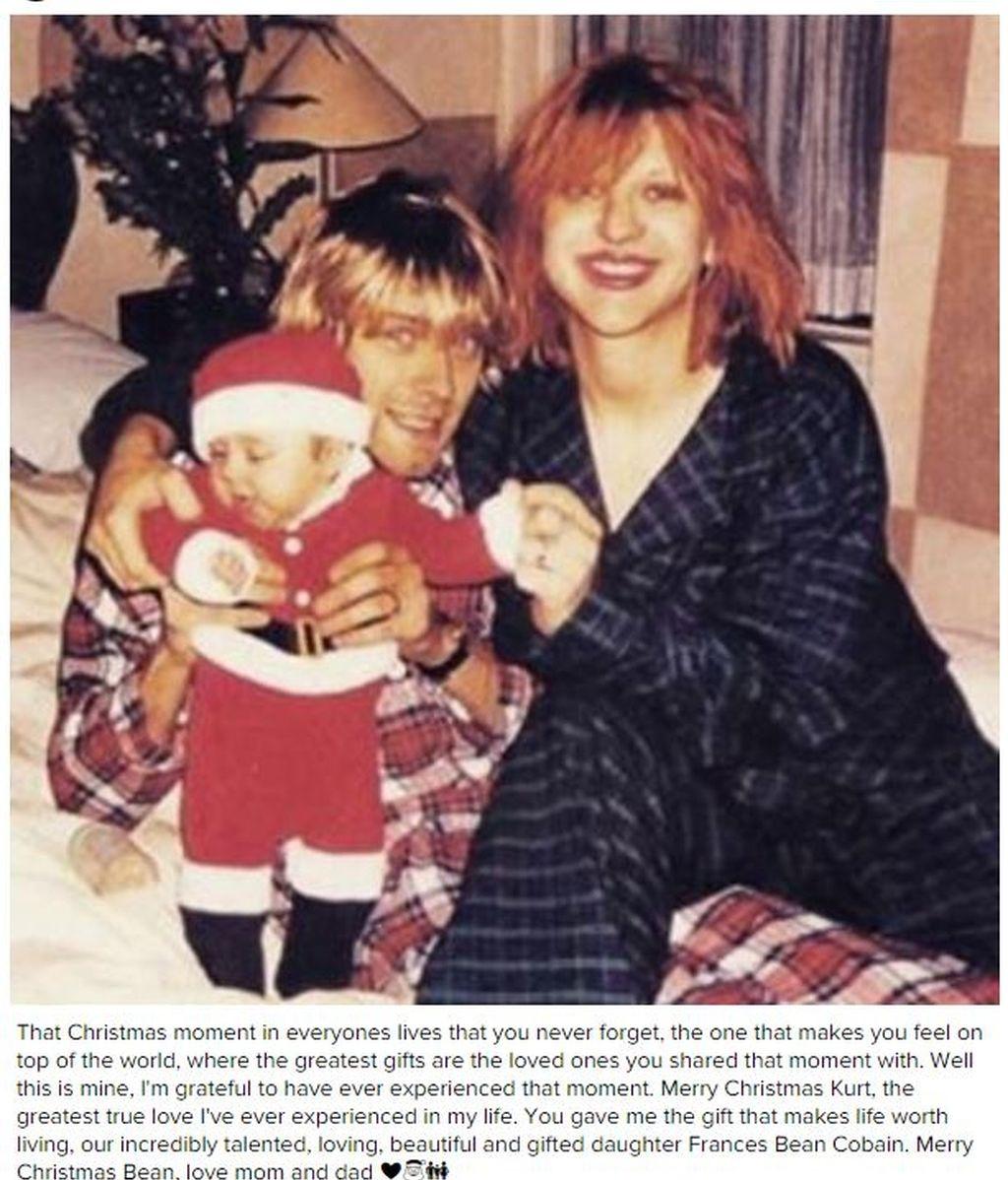 Courtney Love recuerda la Navidad con Kurt Cobain en Instagram