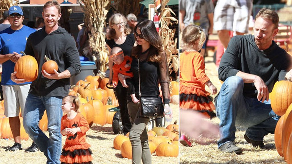 Ian Ziering y Erin Ludwig llevaron a sus hijas disfrazadas para comprar calabazas