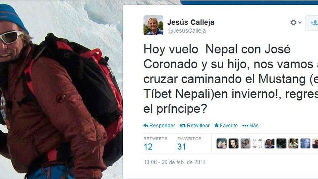 Tuit de Jesús Calleja