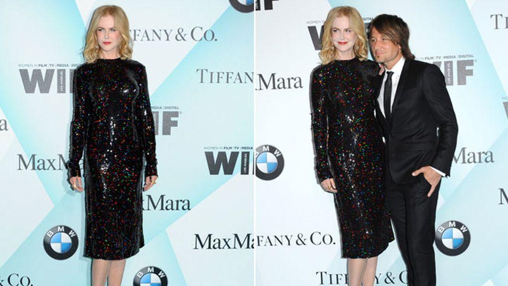 Nicole Kidman acudió con su marido con un vestido de lentejuelas negro