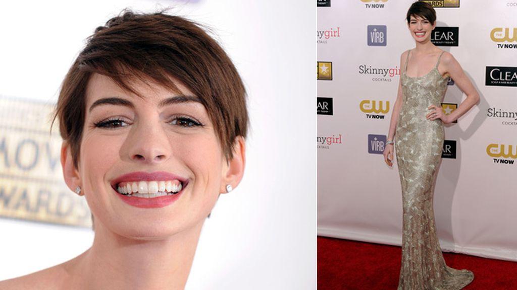 Una radiante Anne Hathaway eligió un vestido espectacular para la gala