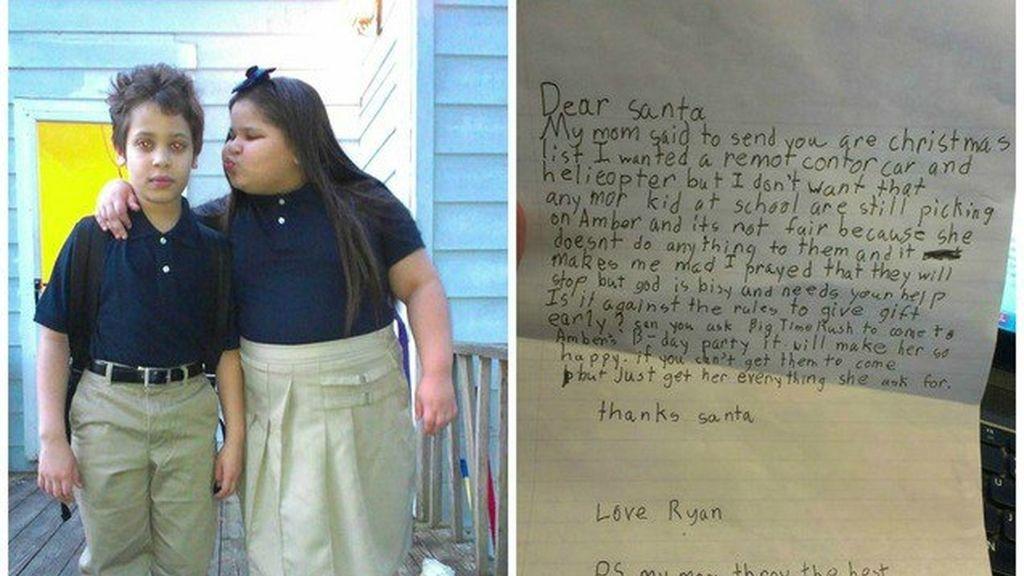 Un niño le pide a Santa Claus que acabe con el acoso que sufre su hermana en el colegio