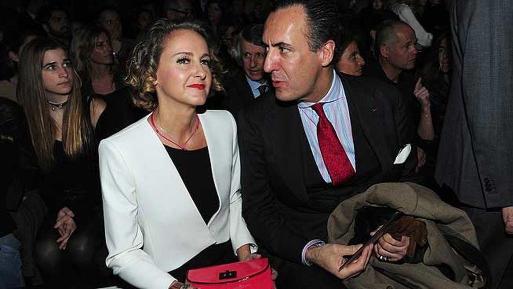 Jaime de Marichalar y Carla Royo Villanova, juntos durante el desfile de 'Mango'