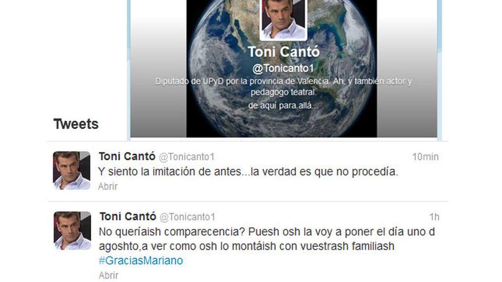 El tuit burlón de Tony Cantó sobre la dicción de Rajoy