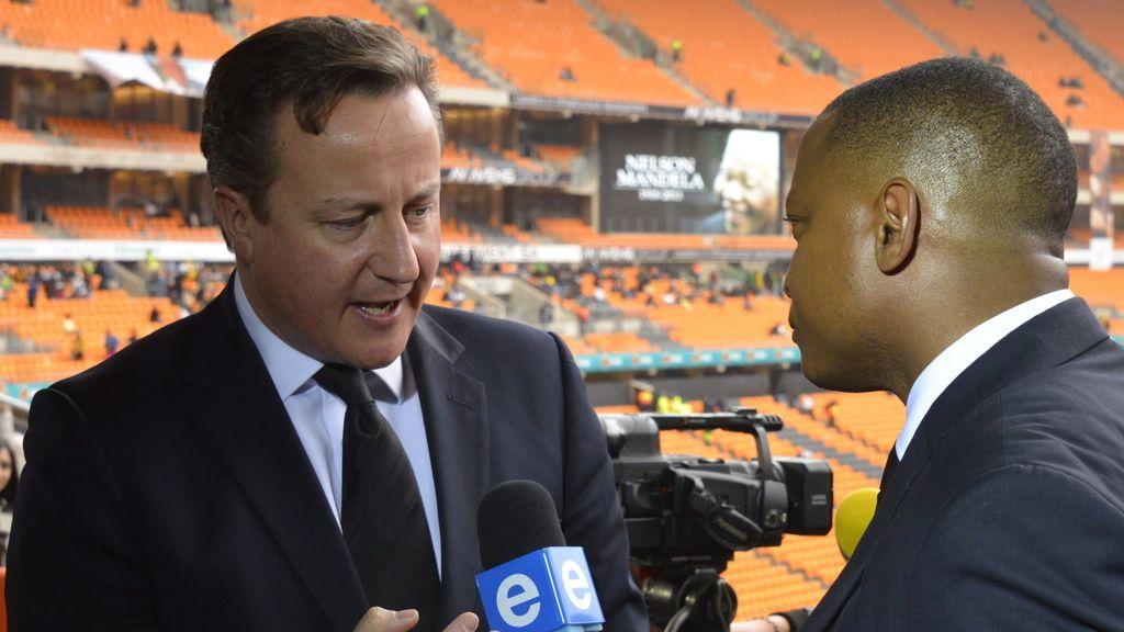 David Cameron en el funeral por Mandela