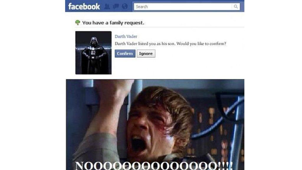 Solicitud familiar: La venganza de Darth Vader, versión Facebook