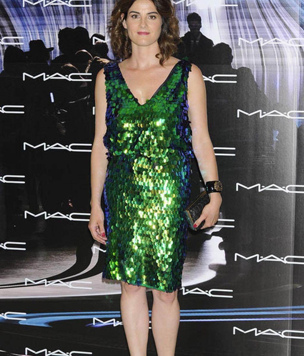 Rosario Domecq, 'look' sirena con este vestido verde de lentejuelas