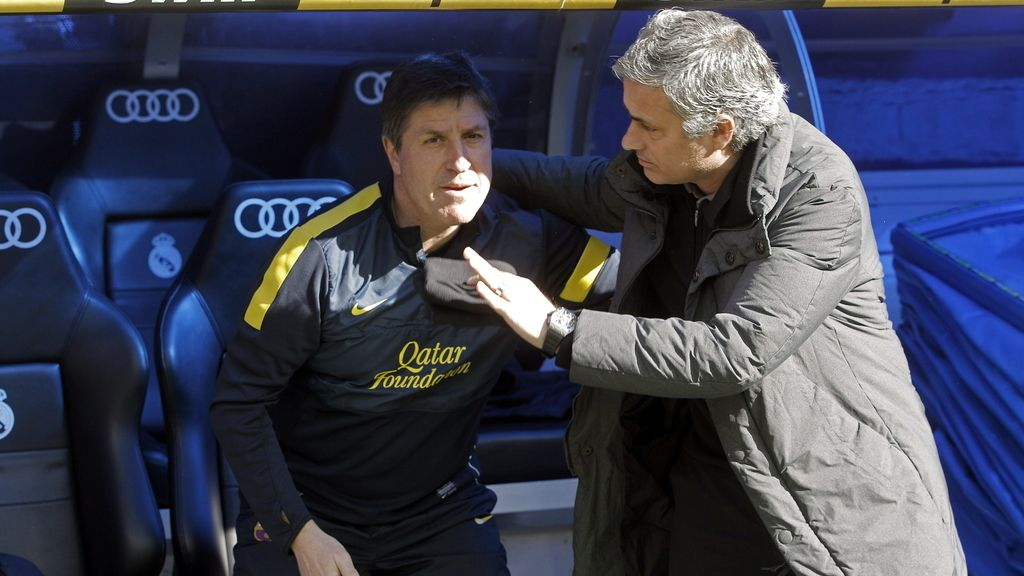 Saludo entre Mourinho y Roura