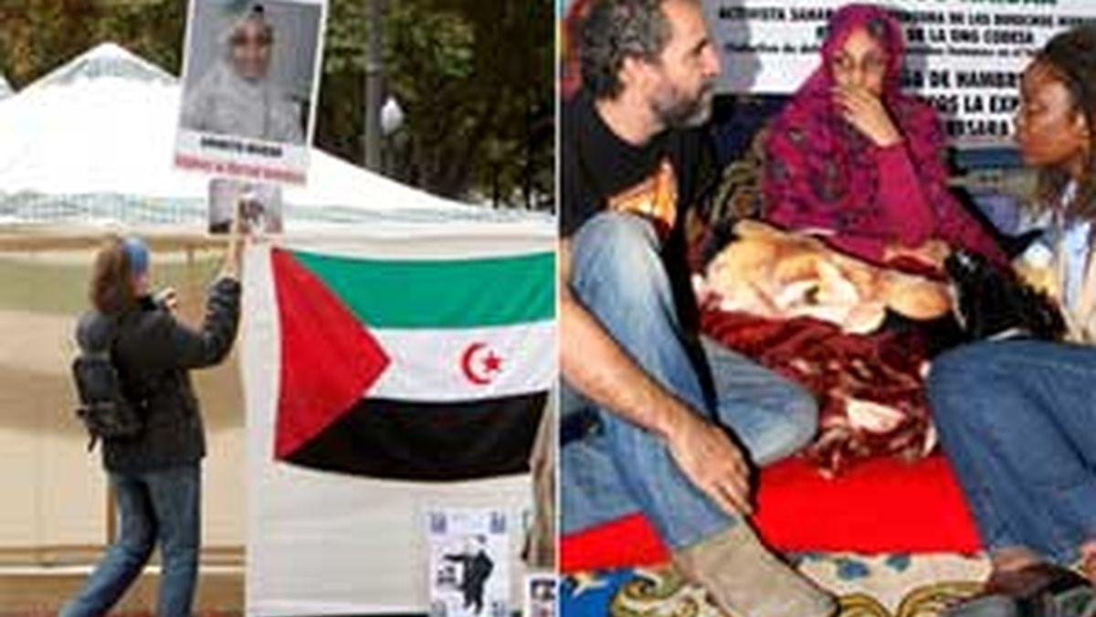 Algunos de los miembros de un grupo de colectivos de apoyo a la autodeterminación del Sahara Occidental durante la concentración, que se ha celebrado hoy en la Plaza de España en Madrid. Haidar permanece en el aeropuerto de Lanzarote. Foto: EFE