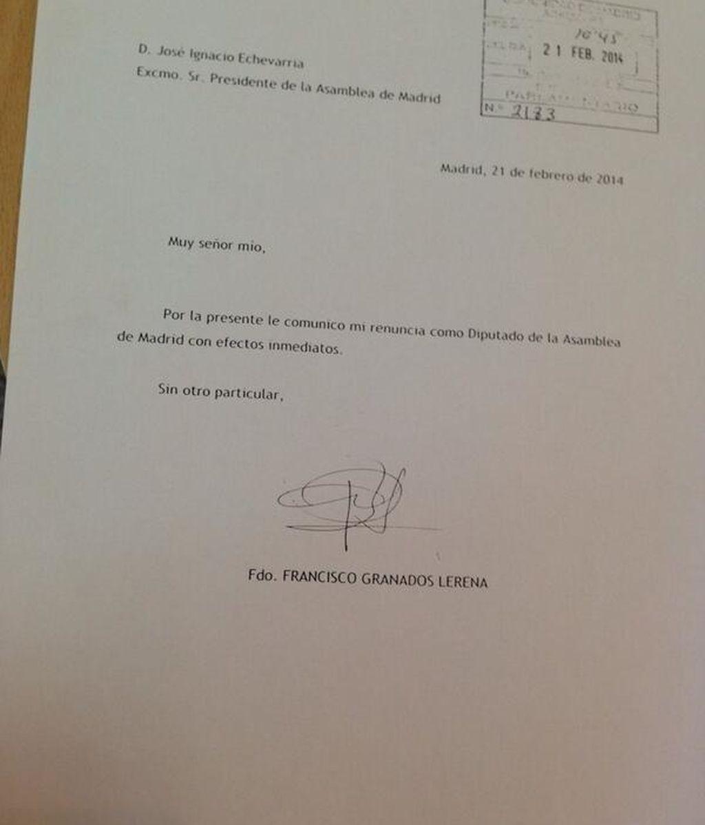 Francisco Granados presenta su renuncia