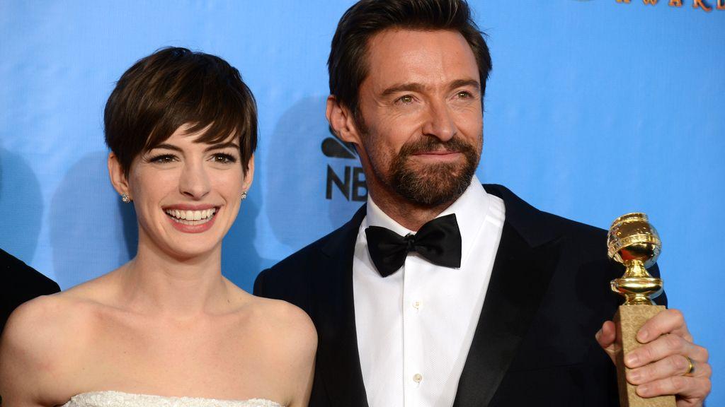 Anne Hathaway, Mejor actriz de reparto y Hugh Jackman, Mejor actor de musical