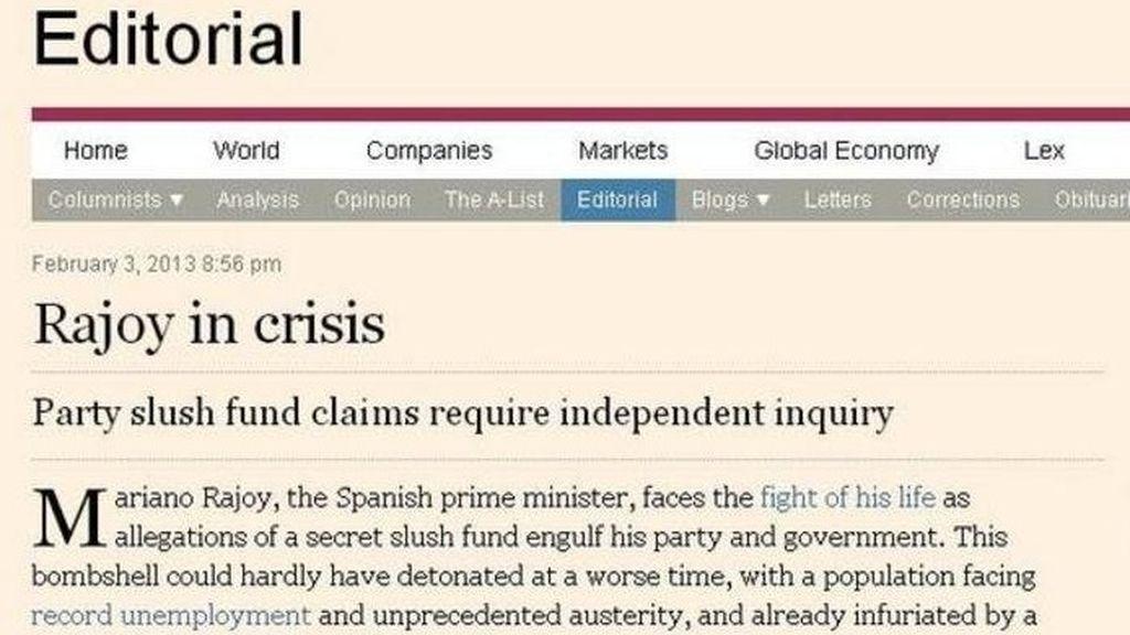 Página del FT con el editorial dedicado a Mariano Rajoy
