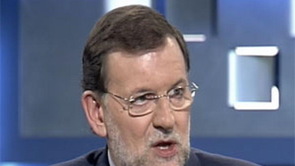 Mariano Rajoy en un momento de la entrevista en Telecinco. Foto: Telecinco