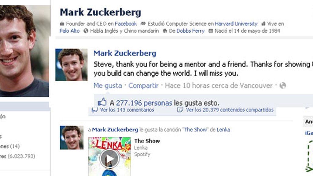 Zuckerberg recuerda a Steve Jobs en Facebook