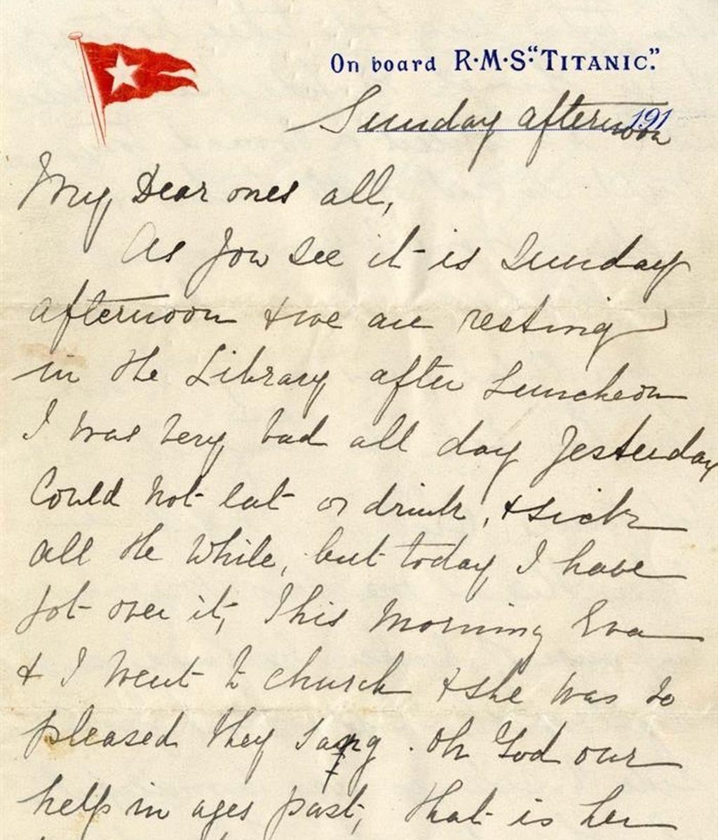 Subastan una carta escrita por una pasajera del Titanic, unas horas antes de que se hundiera