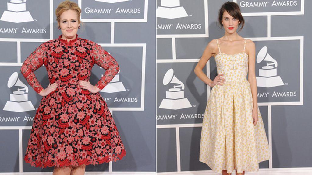 Adele y Alexa Chung eligieron dos versiones distintas de vestidos floreados