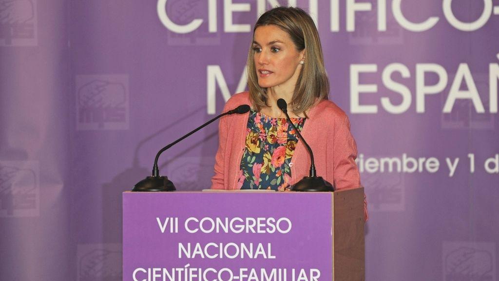 La princesa Letizia, en la inauguración del VII Congreso Internacional Científico-Familiar MPS de España.