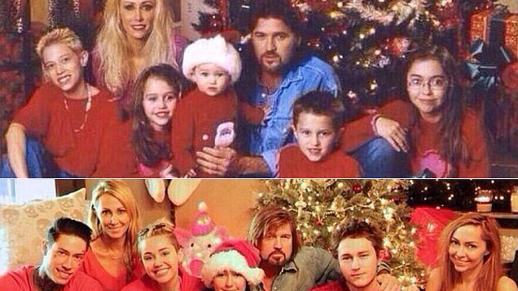 Miley Cyrus recrea con su familia una imagen navideña de su niñez