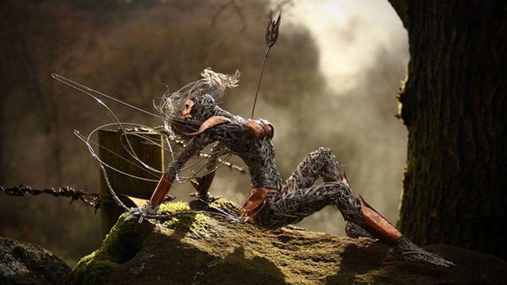 El artista Robin Wight crea estas obras con acero inoxidable
