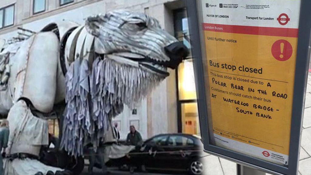 Greenpeace planta un oso en el medio de Londres