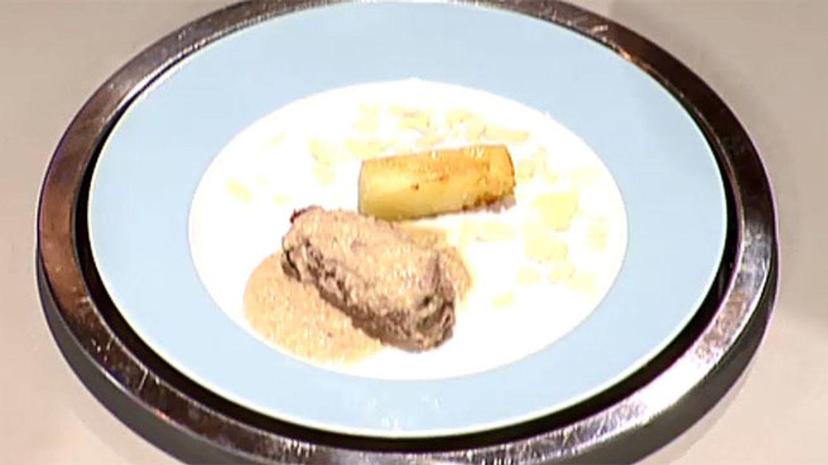 Enrollados de ternera con salsa de almendras y patatas puente nuevo