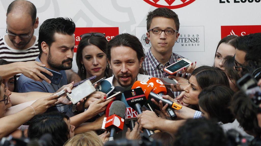 Pablo Iglesias, Íñigo Errejón e Irene Montero en los curso de verano de la Universidad Complutense
