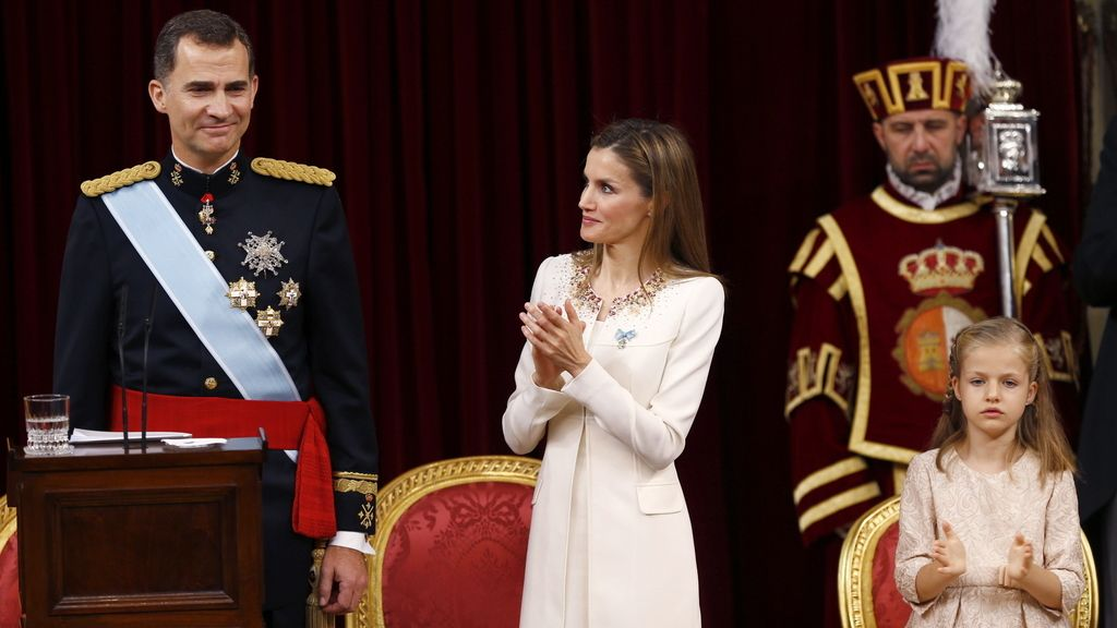 El rey Felipe VI, la reina Letizia y la princesa Leonor