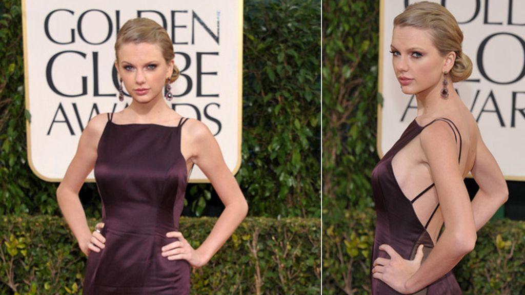Taylor Swift sigue tirando del look de femme fatale. Esta vez, en los Globos de oro