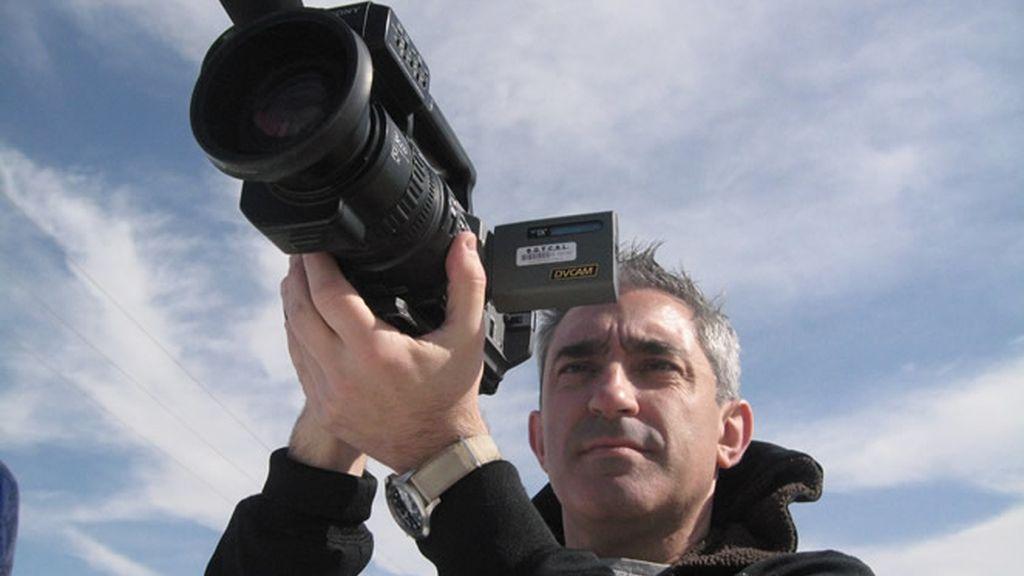 Jon Sistiaga, grabando desde el coche en Gaza